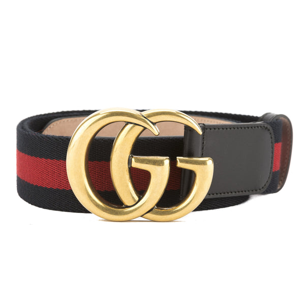 85521822aaf Gucci Blue and Red Nylon Web Belt with Double G Buckle (New with ...