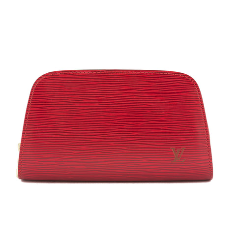 Louis Vuitton Red Epi Leather Dauphine PM Cosmetic Pouch (Pre Owned)