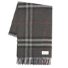 Burberry Dark Charcoal Cashmere Check Scarf (New with Tags)