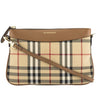 Burberry Tan Leather and Horseferry Check Clutch Bag (New with Tags)