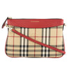 Burberry Parade Red Leather and Horseferry Check Clutch Bag (New with Tags)