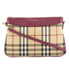 Burberry Burgundy Leather and Horseferry Check Clutch Bag (New with Tags)