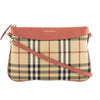 Burberry Antique Rose Leather and Horseferry Check Clutch Bag (New with Tags)