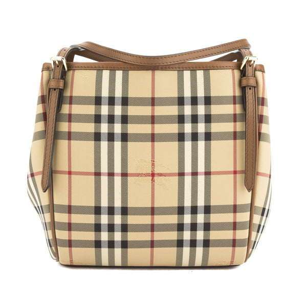 58b5bfc2ecb1 Burberry Tan Horseferry Check Small Canterbury Tote Bag (New with ...