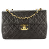 Chanel Black Quilted Lambskin Leather Maxi Single Flap Bag (Pre Owned)