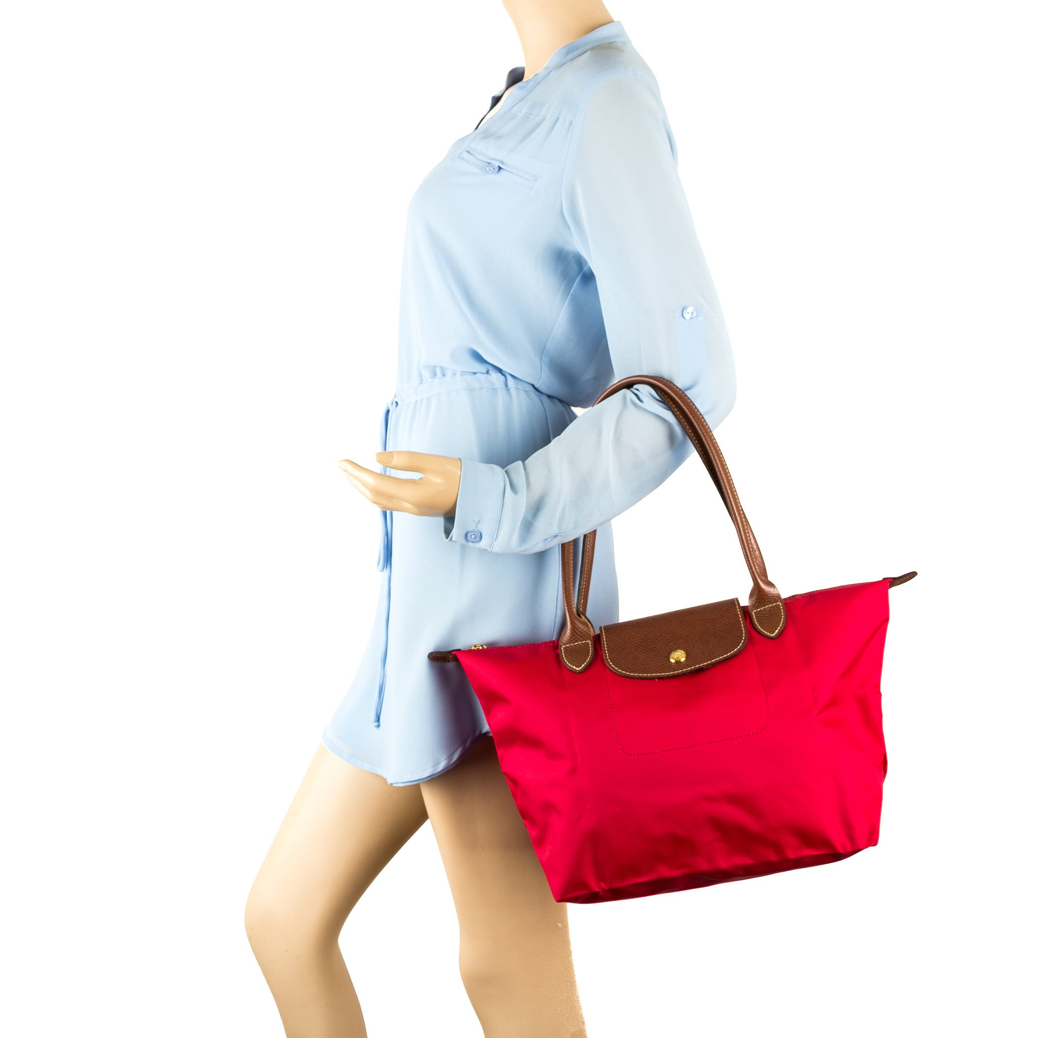 f541f6b4548c Longchamp Red Garance Nylon Le Pliage Small Tote Bag (New with Tags ...