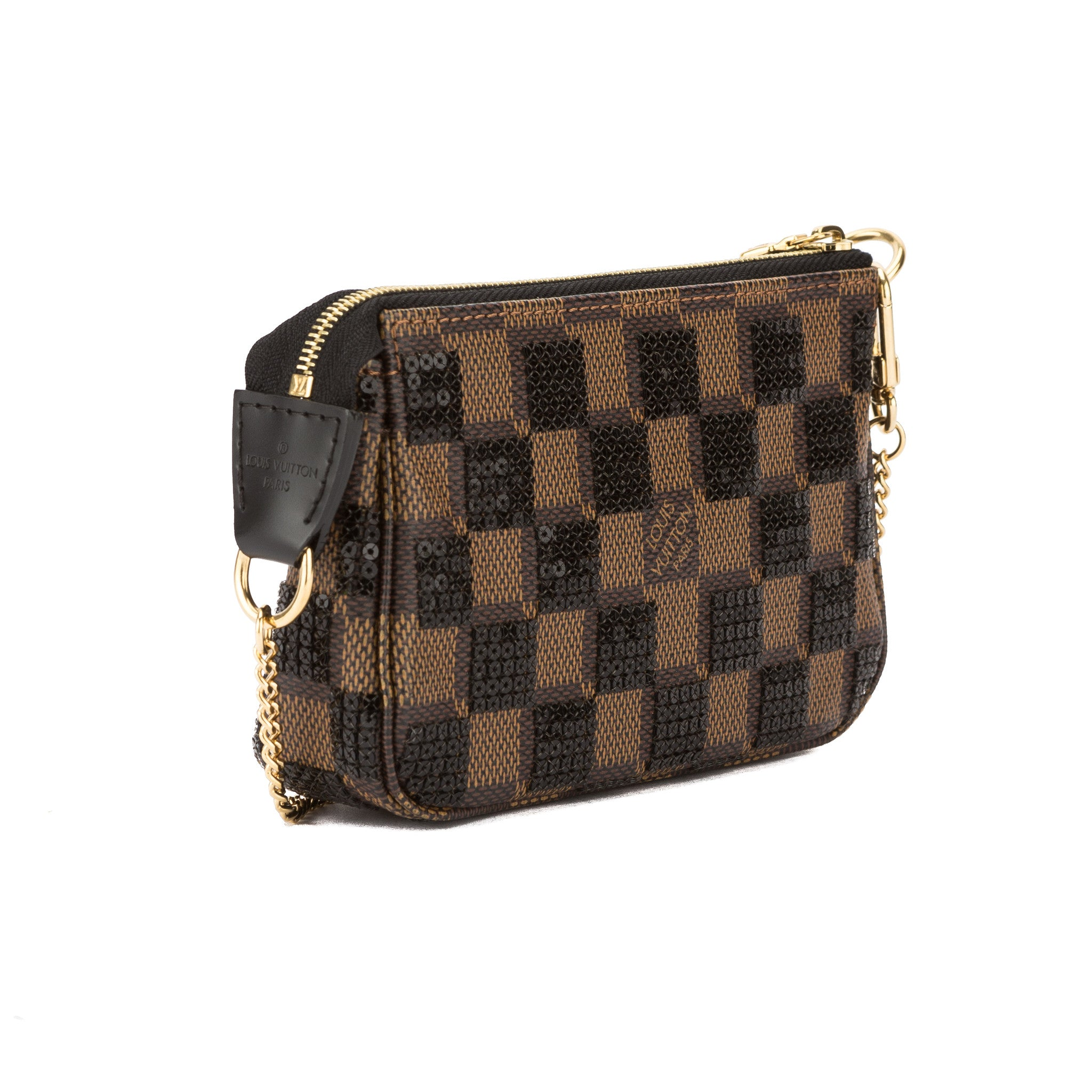 124ddd9d7892 Louis Vuitton Black Damier Pailettes Mini Pochette Accessoires Bag Pre Owned