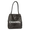 Chanel Black Lambskin Leather Camellia Tote Bag (Pre Owned)