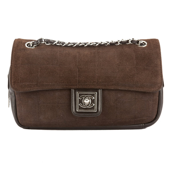 ab2e2318b7c4 Chanel Brown Chocolate Bar Suede Coco Mark Flap Bag (Pre Owned ...