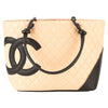 Chanel Beige and Black Quilted Leather Cambon Tote (Pre Owned)