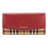 Burberry Parade Red Leather and Horseferry Check Continental Wallet (New with Tags)