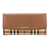 Burberry Tan Leather and Horseferry Check Continental Wallet (New with Tags)