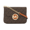 Michael Kors Brown Leather Signature Fulton Flap Gusset Crossbody Bag (New with Tags)