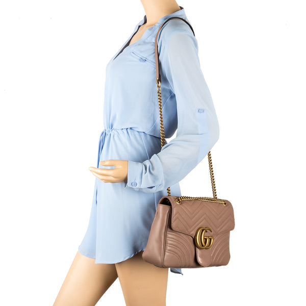 eb94fc266de Gucci Nude Leather GG Marmont Matelasse Shoulder Bag (New with Tags ...