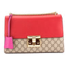 Gucci Hibiscus Red and Pink Leather GG Supreme Canvas Padlock Shoulder Bag (New with Tags)