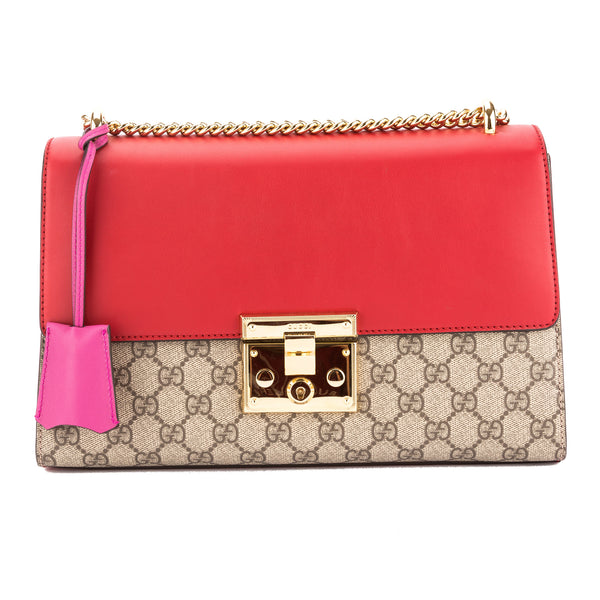 6e4c34ce1c2b Gucci Hibiscus Red and Pink Leather GG Supreme Canvas Padlock Shoulder Bag  New with Tags