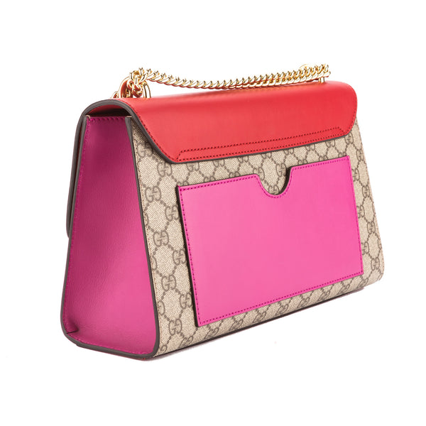 183d6fa12ed5 ... Gucci Hibiscus Red and Pink Leather GG Supreme Canvas Padlock Shoulder  Bag (New with Tags ...