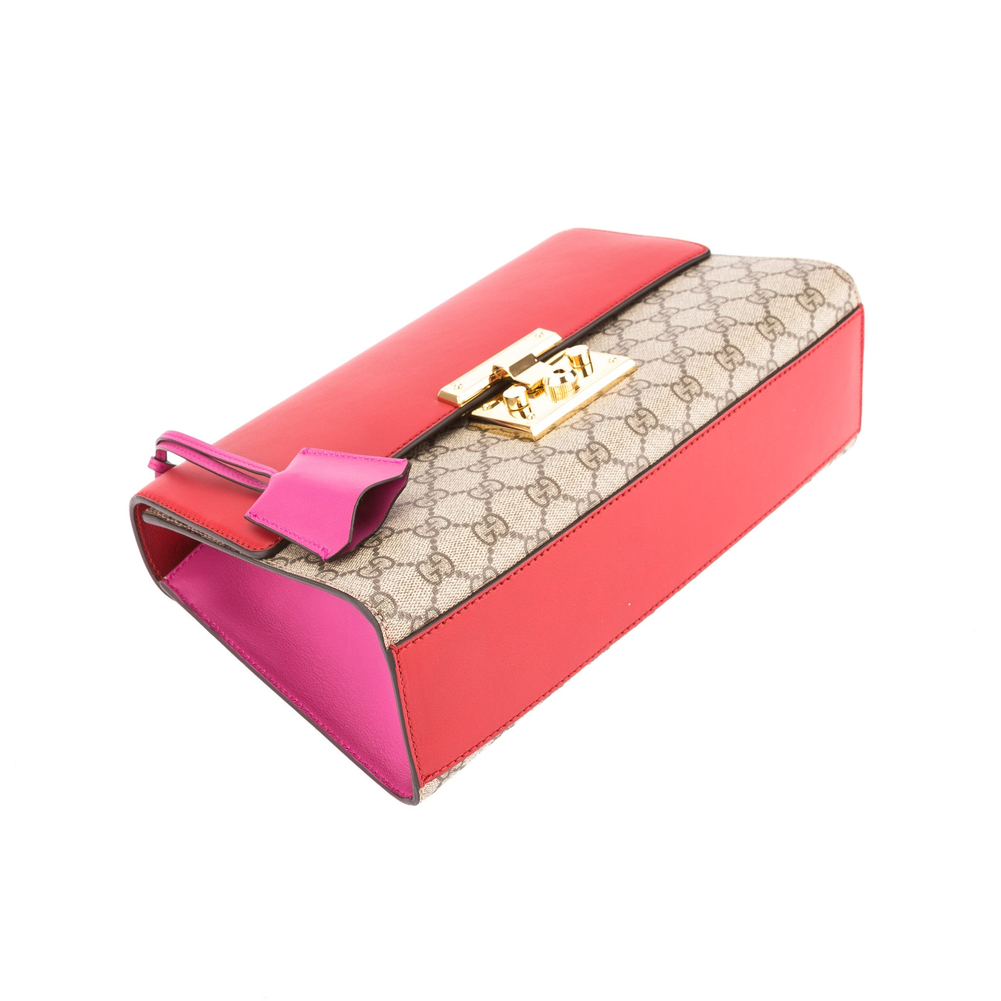 547673c40b11 Gucci Hibiscus Red and Pink Leather GG Supreme Canvas Padlock Shoulder -  3452005 | LuxeDH