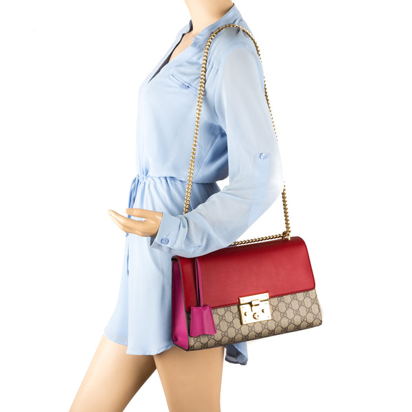 6f5e65ac7421 ... Gucci Hibiscus Red and Pink Leather GG Supreme Canvas Padlock Shoulder  Bag (New with Tags