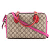 Gucci Hibiscus Red and Pink Leather GG Supreme Top Handle Bag (New with Tags)