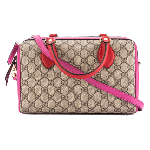 fb131b7e7661 Gucci Hibiscus Red and Pink Leather GG Supreme Top Handle Bag New with Tags
