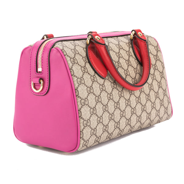 ee07c592700e ... Gucci Hibiscus Red and Pink Leather GG Supreme Top Handle Bag (New with  Tags) ...