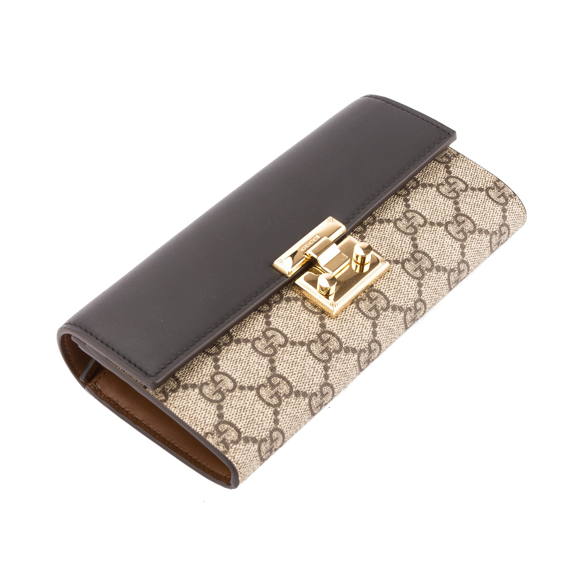 dd5a22ba58b Gucci Black Leather GG Supreme Padlock Continental Wallet (New with Ta -  3452007