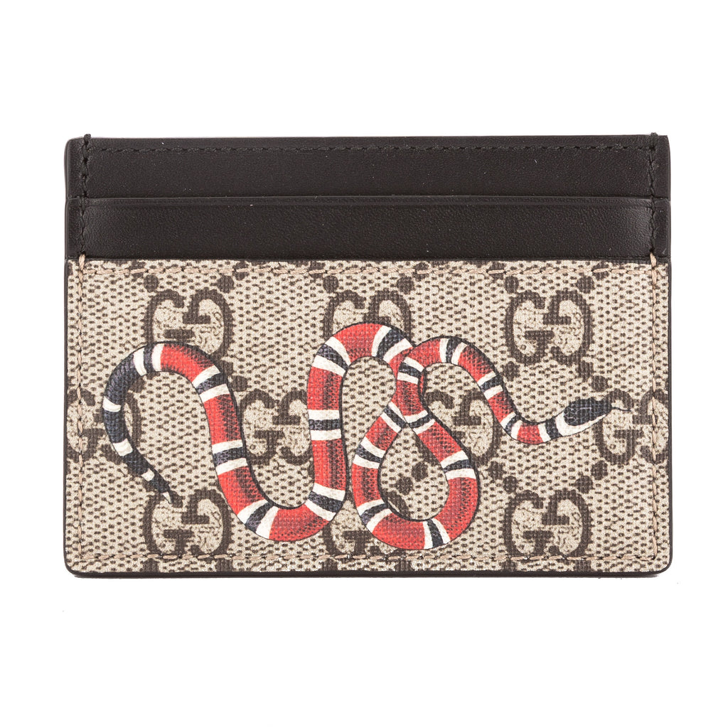 Gucci GG Supreme Canvas Snake Print Card Case (New with Tags ...