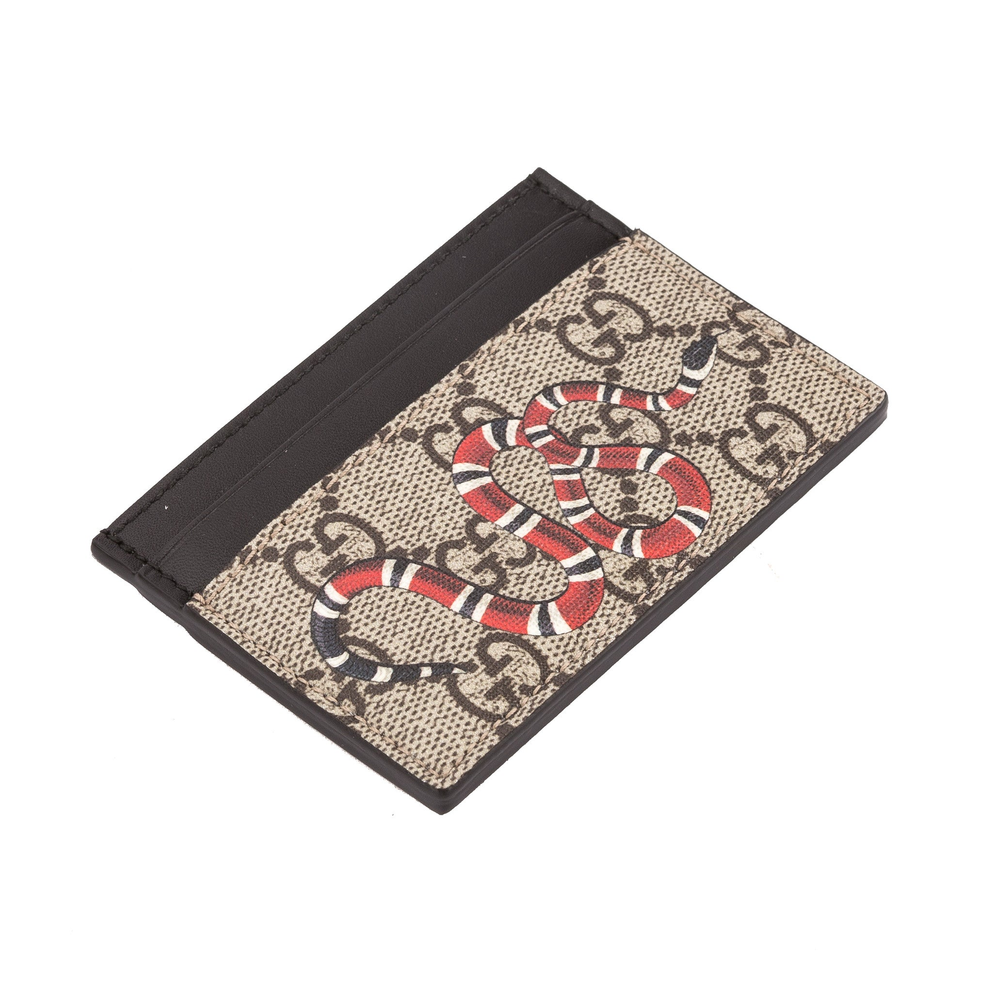 3bee9272ccfb Gucci GG Supreme Canvas Snake Print Card Case (New with Tags) - 3452022 |  LuxeDH