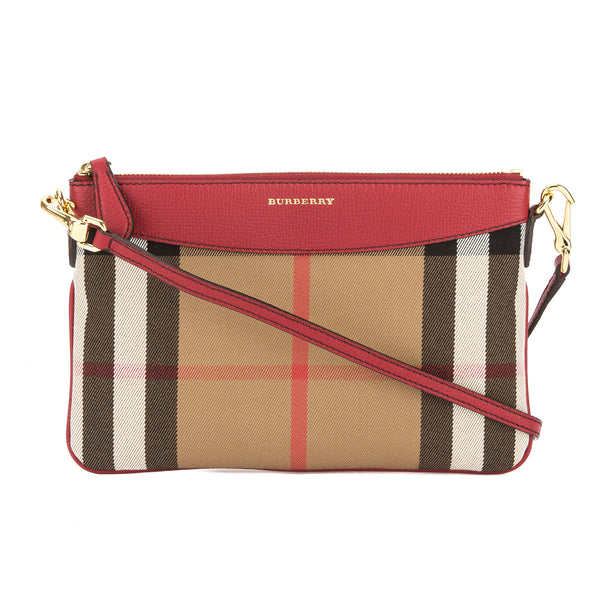 948c327e0389 Burberry Military Red Leather and House Check Clutch Bag (New with ...