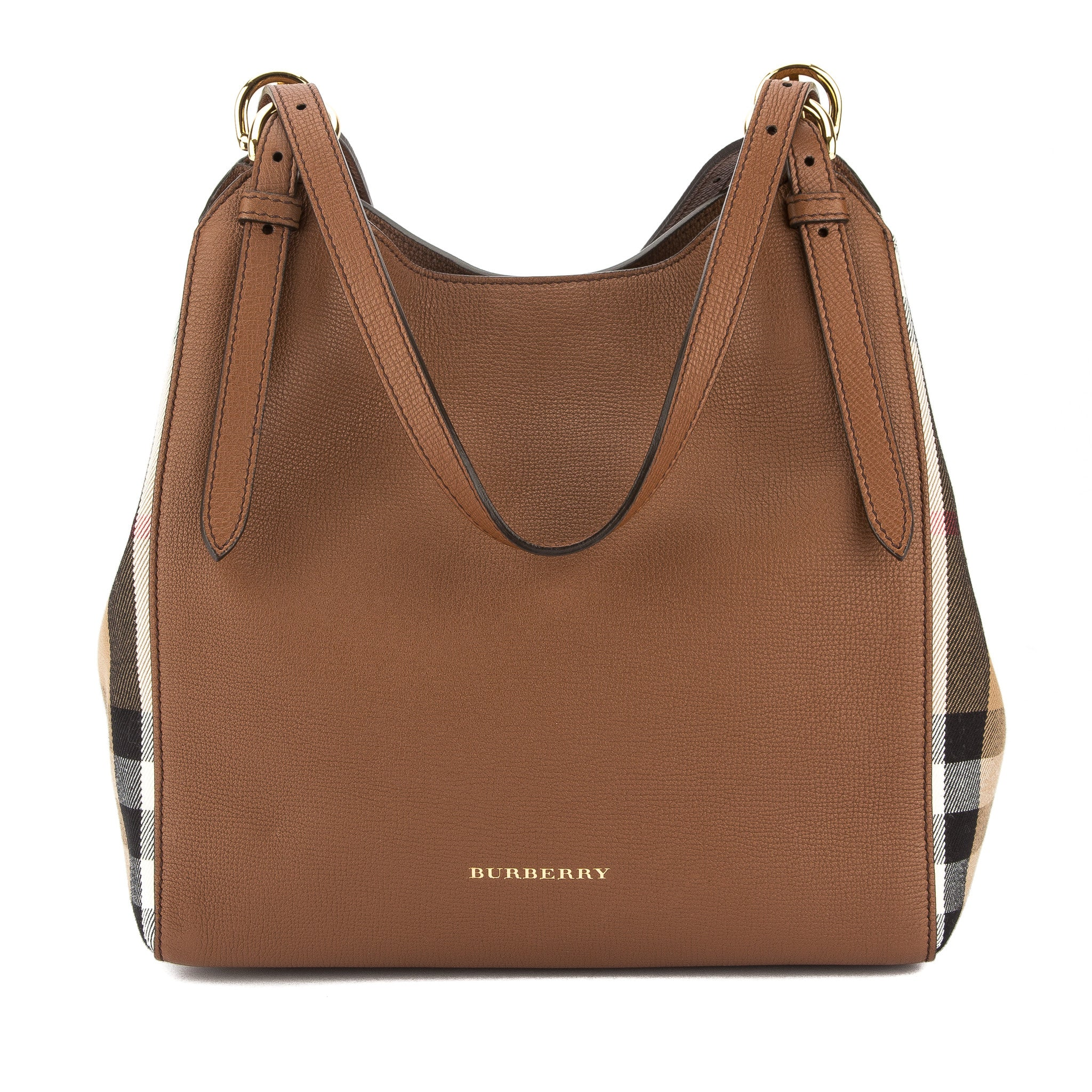 72cd32dbe3aa Burberry Tan Leather and House Check Small Canter Bag (New with Tags ...