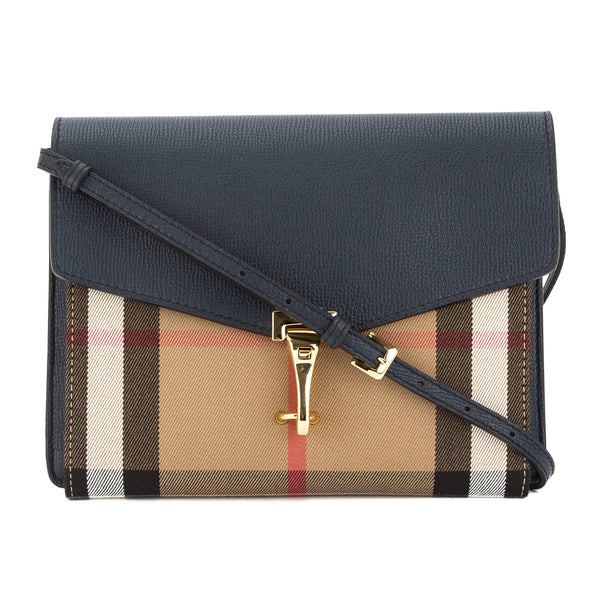 90fdbb9ddd81 Burberry Navy Leather House Check Small Macken Crossbody Bag New with Tags