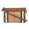 Burberry Tan Leather and House Check Peyton Clutch Bag (New with Tags)