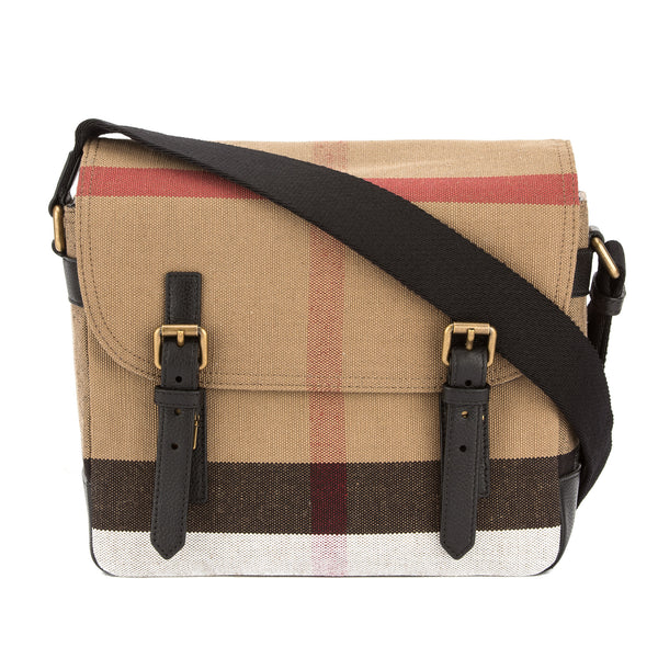 Burberry Black Leather and Canvas Check Messenger Bag (New with Tags)