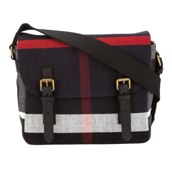 59ea8565454e Burberry Black Leather and Navy Canvas Check Messenger Bag (New with ...