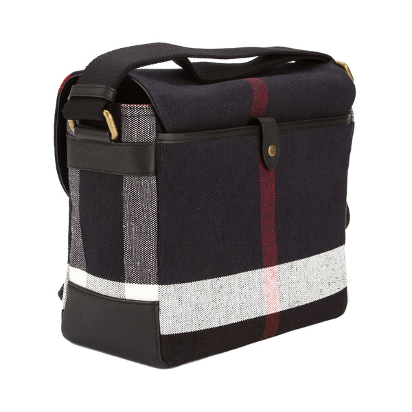 a28d5c291781 Burberry Black Leather and Navy Canvas Check Messenger Bag (New with ...