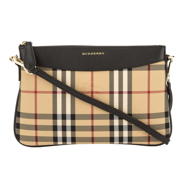 bec5773014d7 Burberry Black Leather and Horseferry Check Peyton Clutch Bag New with Tags