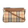 Burberry Tan Leather and Horseferry Check Peyton Clutch Bag (New with Tags)
