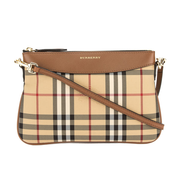 5fe700066cdd Burberry Tan Leather and Horseferry Check Peyton Clutch Bag New with Tags
