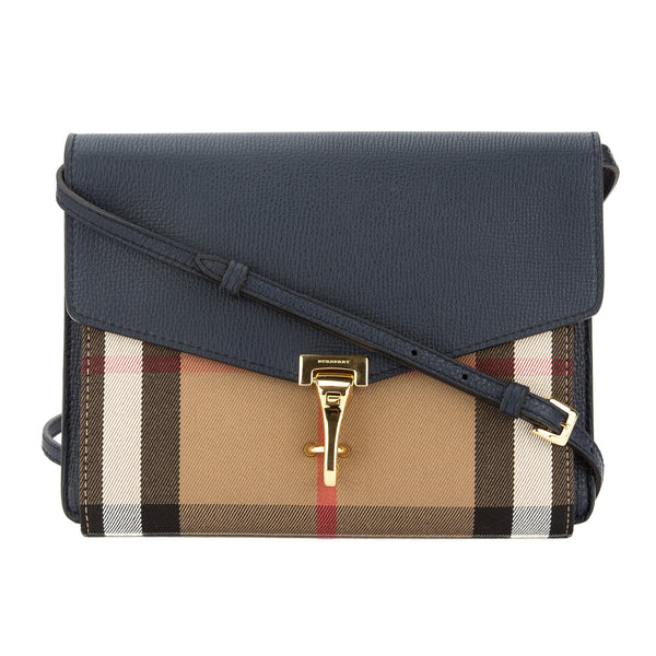 038a0b44be9e Burberry Ink Blue Leather House Check Small Crossbody Bag (New with ...