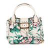 Burberry Natural and Emerald Green Leather Peony Rose Print Small Buckle Tote Bag (New with Tags)