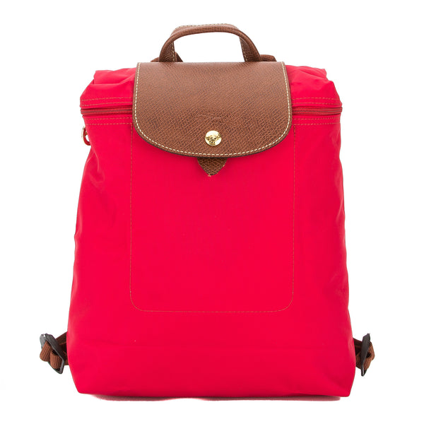 Longchamp Red Nylon Canvas Le Pliage Backpack (New with Tags)
