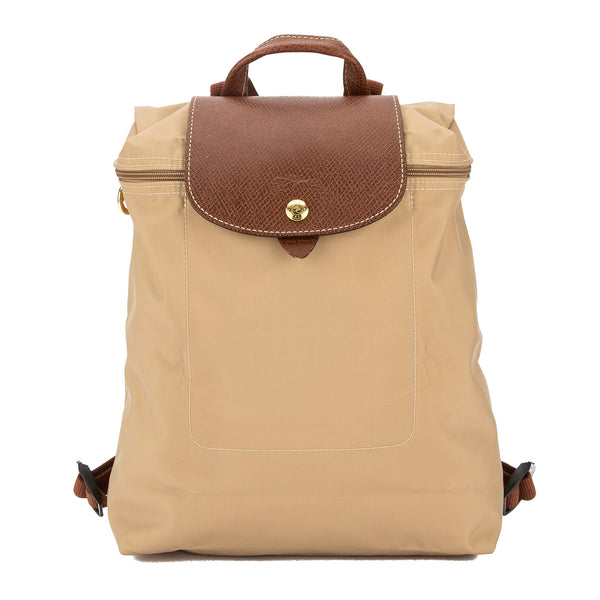 Longchamp Beige Nylon Canvas Le Pliage Backpack (New with Tags)
