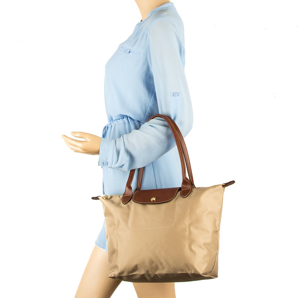 578178931cc ... Longchamp Beige Nylon Canvas Le Pliage Small Tote Bag (New with Tags)
