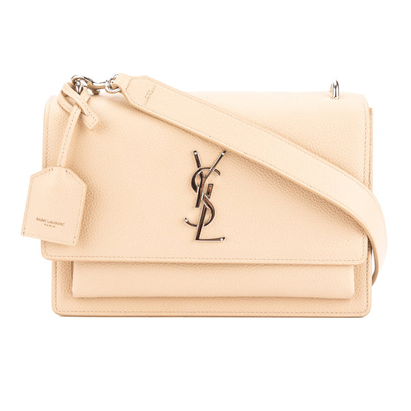 9a0cceb26ca7 Yves Saint Laurent Saint Laurent Nude Grained Leather Medium Sunset Monogram  Bag New with Tags