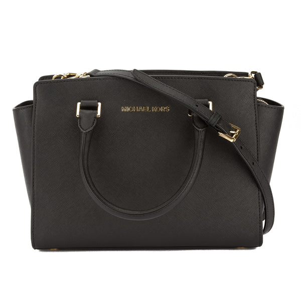Michael Kors Black Saffiano Leather Medium Selma Satchel (New with Tags)