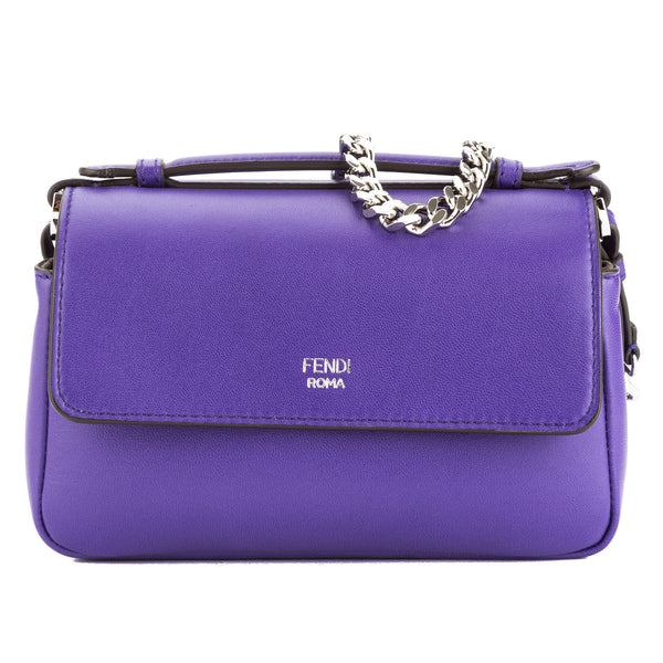 0eec35badf Fendi Purple Leather Double Micro Baguette Bag (New with Tags ...