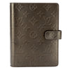 Louis Vuitton Noir Monogram Mat Leather Agenda MM Day Planner Cover (Pre Owned)