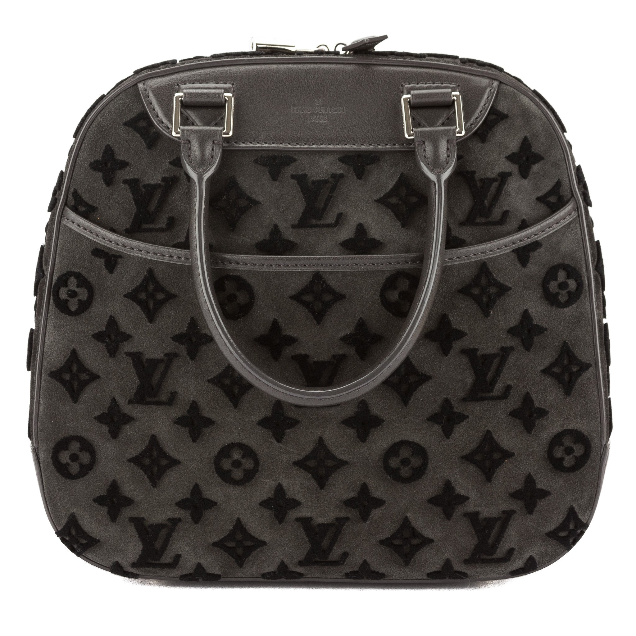 48bff987c7f3 Louis Vuitton Black Suede Monogram Tuffetage Deauville Cube Bag Pre Owned