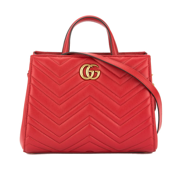 cb013b2e2f4b Gucci Hibiscus Red Leather GG Marmont Matelasse Small Top Handle Bag New  with Tags